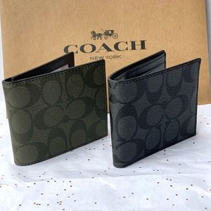 Coach Men's Slim Billfold Signature Coated Wallet